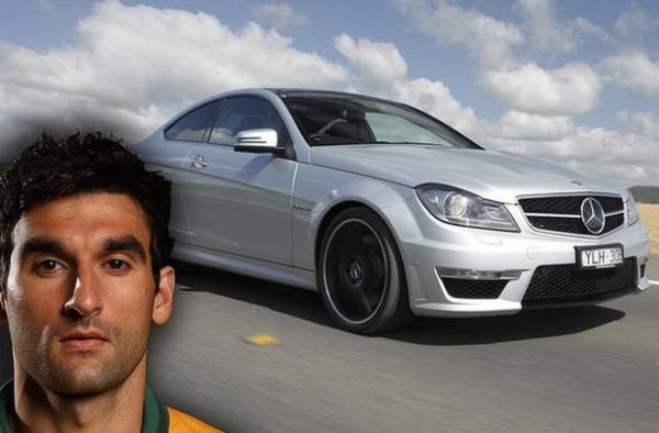 Australian captain, Mile Jedinak, pilots a V8-powered Mercedes-Benz C63 AMG.