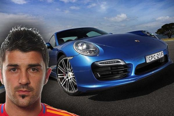 Spanish striker, David Villa, goes for the powerhouse Porsche 911 Turbo.