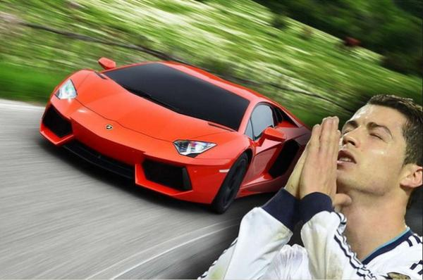 Portuguese forward, Cristiano Ronaldo, is equally flashy off the field in his Lamborghini Aventador.