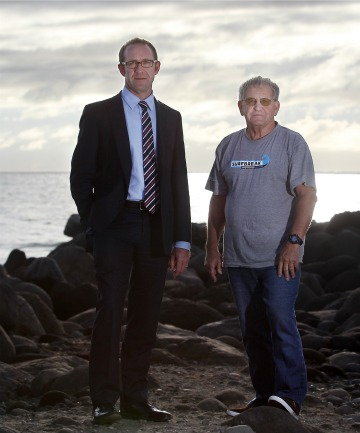 Labour MP Andrew Little, left, and surfer Allen Pidwell