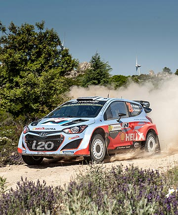 BAD LUCK: Kiwi Hayden Paddon was inside the top 10 at Rally Italia Sardegna when an engine misfire saw him park his Hyundai i20.