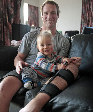 Kris Blenkiron, with son Byron