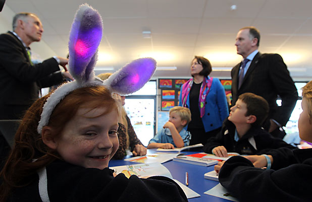 John Key at Pegasus Bay School