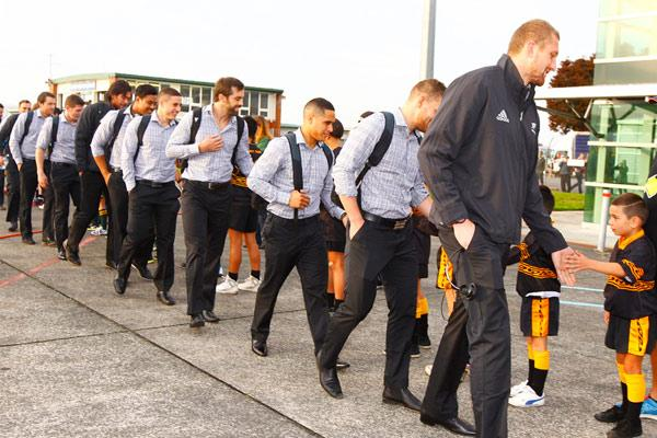 All Blacks, Hamilton airport