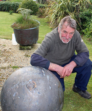 Bluff fisherman Russell Trow with space junk