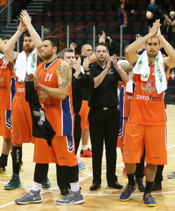 Southland Sharks players thank their home crowd in Invercargill following their final home game of the 2014 season, against the Canterbury Rams on Friday night.