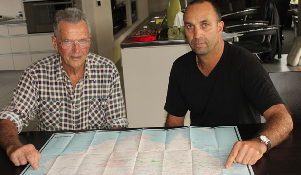 Warren Tapper and his dad Kay have mapped out his Australian motorcycling adventure.