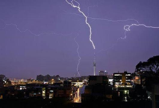 ZAP: Lightning hits Auckland's Sky Tower during Friday's electrical storm.