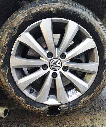 tyre with puncture