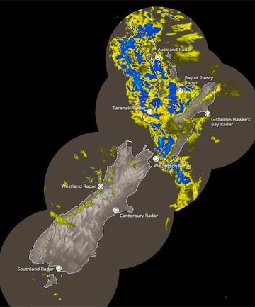 RAINY DAY: Rain covers most of the North Island in this 12.20pm rain radar image from MetService.