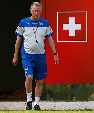 CONFIDENT: Swiss coach Ottmar Hitzfeld is looking forward to facing Lionel Messi and Argentina in the round of 16.
