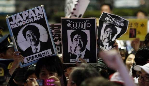 Japan military protests