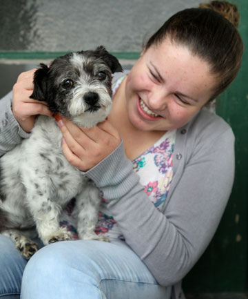 Mikayla Pearsey with her dog Jess