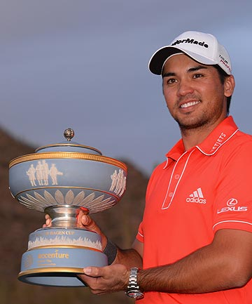 CHAMP: Australian Jason Day with the WGC-Match Play Championship trophy after winning the 2014 event.