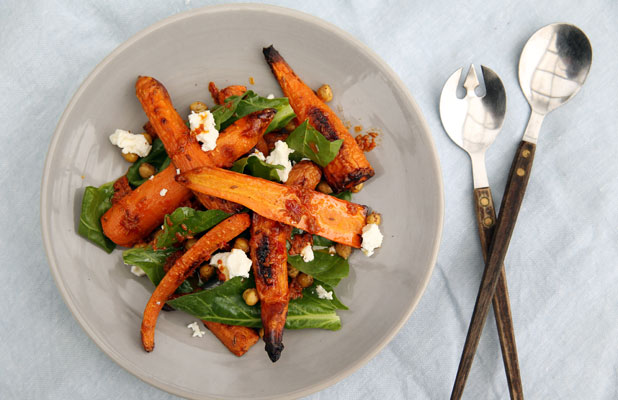 carrot, chickpea, feta salad