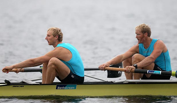 GOOD START: Kiwi men's pair duo Hamish Bond, left, and Eric Murray cruised to victory in their heat on day one of the final World Cup regatta of the season in Lucerne tonight.