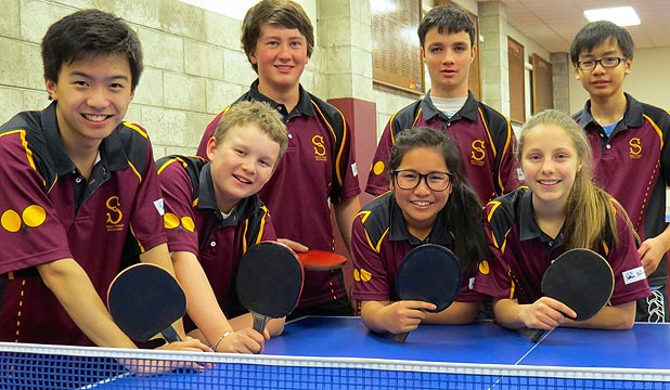 TEAM TIME: Southland players getting ready to compete in the New Zealand junior table tennis championships in Palmerston North are, from left, Michael Zhang, Finn Holden, Matt Shields, Holly Wu, Nathan Geraghty, Laura Geraghty and Hai Thien Tran.
