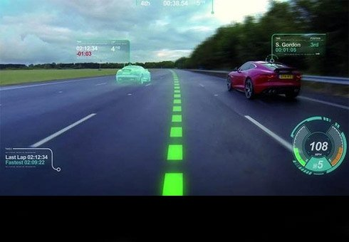 Ghost cars and virtual racing lines projected onto windscreen thanks to a futuristic new concept.