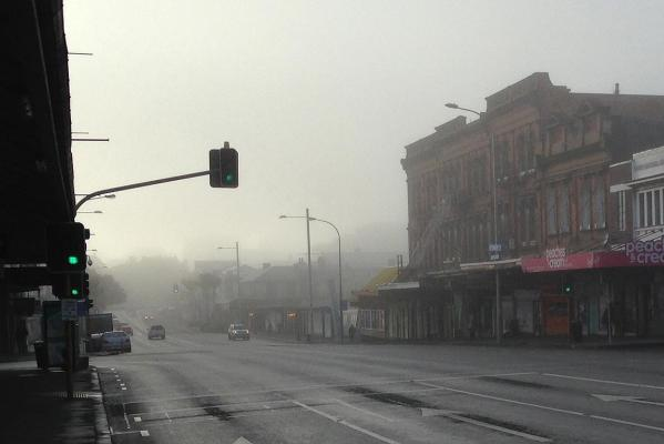 Fog obscures much of Karangahape Rd, Auckland city.
