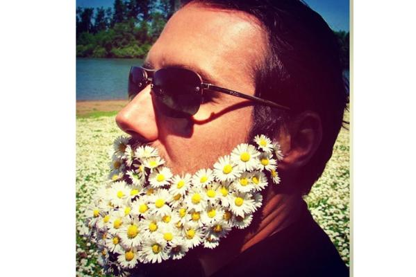 Men with flowers in their beards