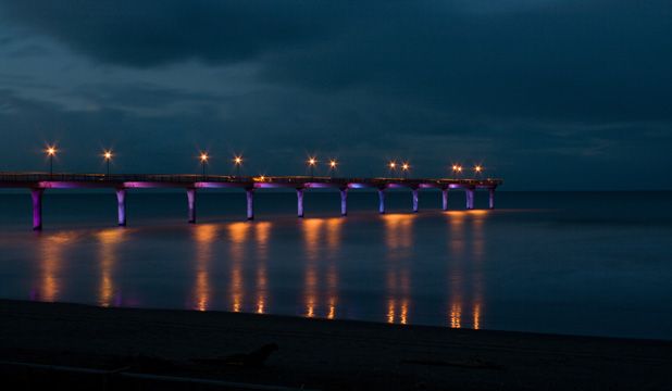 New Brighton Pier, proudly displaying its lighting
