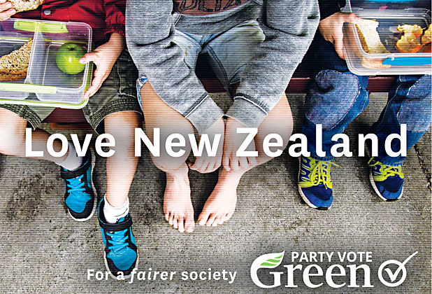 Greens Love NZ no shoes