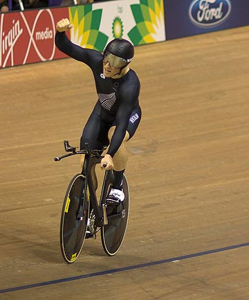 STOKED: Matt Archibald celebrates after his bronze medal-winning effort on the track at the Commonwealth Games in Glasgow.