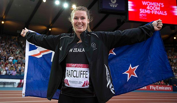 PROUD KIWI: Hammer thrower Julia Ratcliffe celebrates after winning the silver medal at the Glasgow Commonwealth Games.