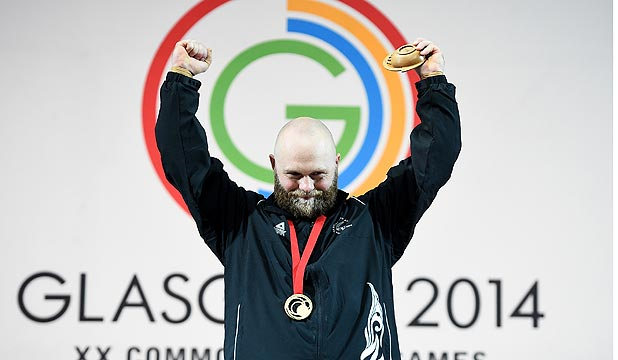 YOU BEAUTY: NZ weightlifter Richie Patterson on the dais after receiving his gold medal in Glasgow.