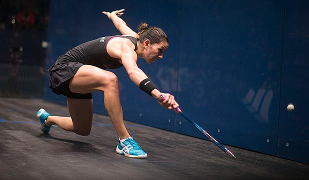 UP AND UP: Kiwi squash player Joelle King, pictured on her way to victory in the bronze medal match in Glasgow, wants to keep climbing towards the top of the world rankings.