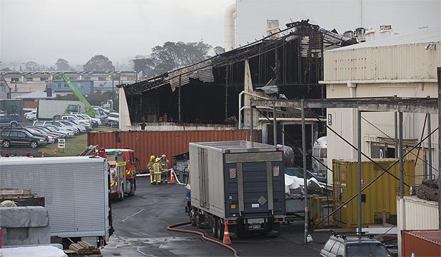BIG BLAZE: More than 60 firefighters battled the fire at the studio complex for more than three hours before they got it under control.