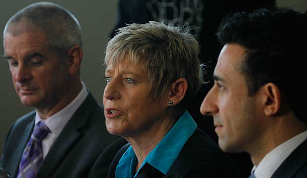 Cr Andrew Turner, Mayor Lianne Dalziel, and Cr Raf Manji
