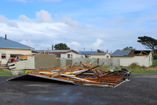 A garage roof lifted clean off in a tornado in Blaketown, Aug 2.