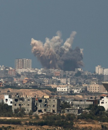 moke rises in the Gaza Strip after an Israeli strike.