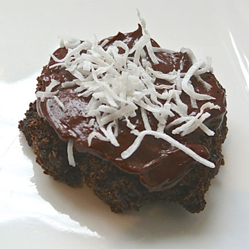 Double chocolate coconut cookies with bitter chocolate ganache