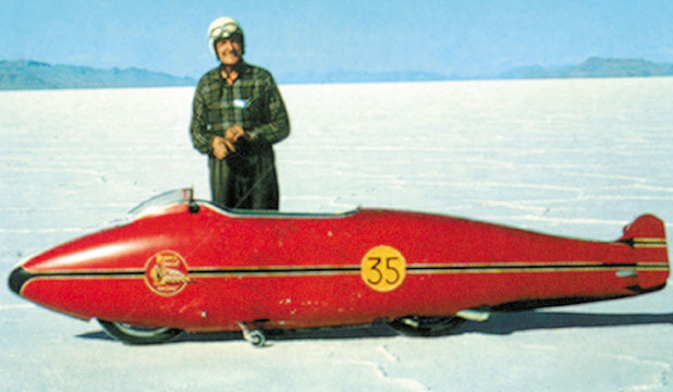 Burt Munro and his famous Indian motorcycle on the Bonneville Salt Flats.