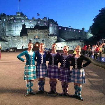 HIGHLAND FIVE: Marlborough dancers, from left, Rebecca Healy, Georgia Marshall, Kelsey Smith, Morgan Vile and Grace Owen at Edinburgh Castle where they are taking part in the Royal Edinburgh Military Tattoo in Scotland.