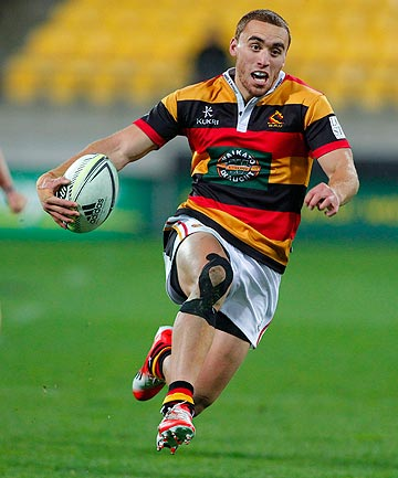 FLEET FOOTED: Waikato wing Joe Webber streaks away during his sides victory over Wellington tonight.