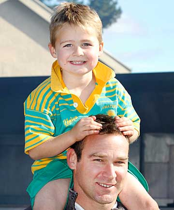 Greg Hammond and son Rupert Hammond, 5.
