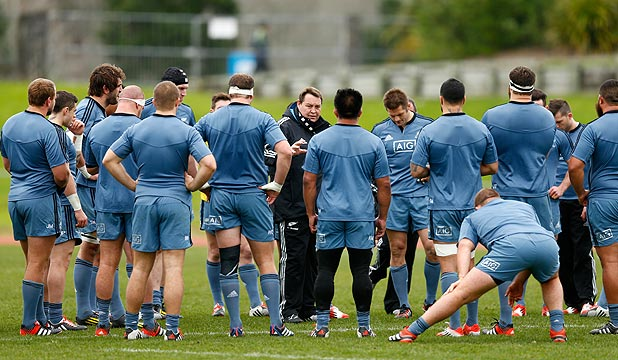 FOCUS: All Blacks coach Steve Hansen delivers a message to his players at training in Auckland earlier this week.