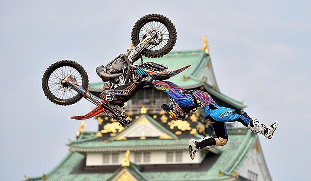 DEFYING GRAVITY: Kiwi freestyle motocross superstar Levi Sherwood in action during the second round of this year's Red Bull X-Fighters World Tour in Osaka, Japan.