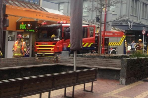 Firefighters blocked off a large area of Cuba Street as a precaution while they investigated where a smell of gas was coming from.