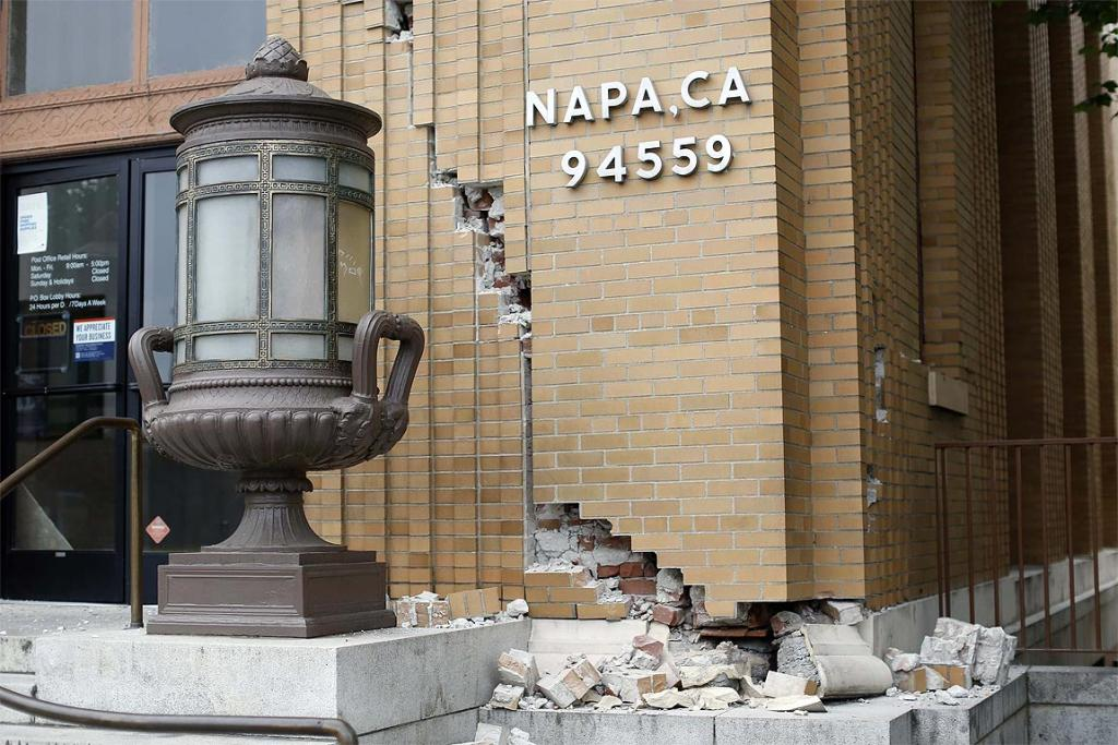 Damage is seen at the US Post Office building after a 6.0 earthquake in Napa, California.