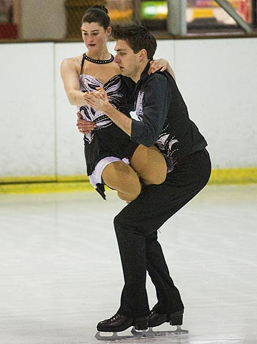 TOP SKATE: Sasha Seater, 18, and Sage Robinson, 20, compete in the dance pre-primary competition during the South Island Figure Skating Championships in Christchurch at the weekend.