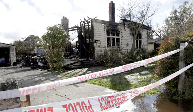 House on Main Street, Blenheim, gutted by fire