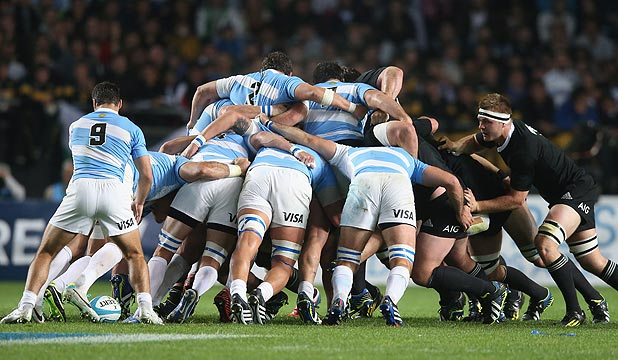 ACID TEST: The All Blacks' pack will have to be at its best to deal with a powerful Argentina eight at scrum time on Saturday.
