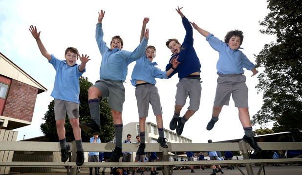 Boys jump for joy at new classrooms