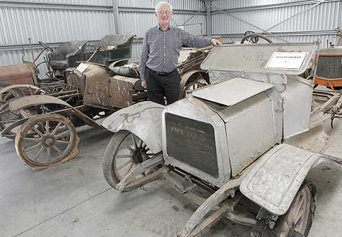 John Southward of Southward Car Museum with six cars he is selling.