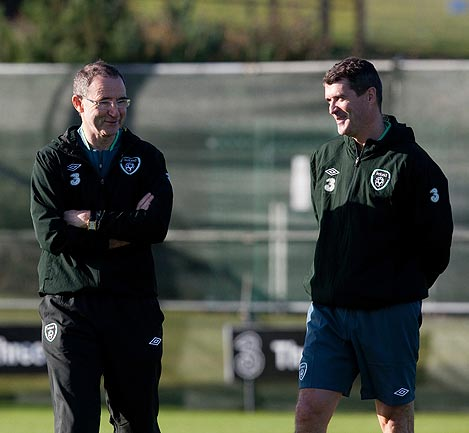 ON THE MOVE?: Ireland assistant coach and former Manchester United star Roy Keane, right, has been talking with Scottish giants Celtic, who have a managerial vacancy.