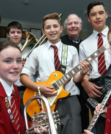 James Hargest College jazz band Off the Record, from left, Michael Zhang, Anna Redmond, Josiah Brown,  David Stupples, tutor John McLelland, Jonty Heydenrych and Rebekah Elder prepare for the Southland Secondary Schools Jazz Fest.